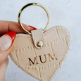 Leather Mum Heart Keyring in Blush