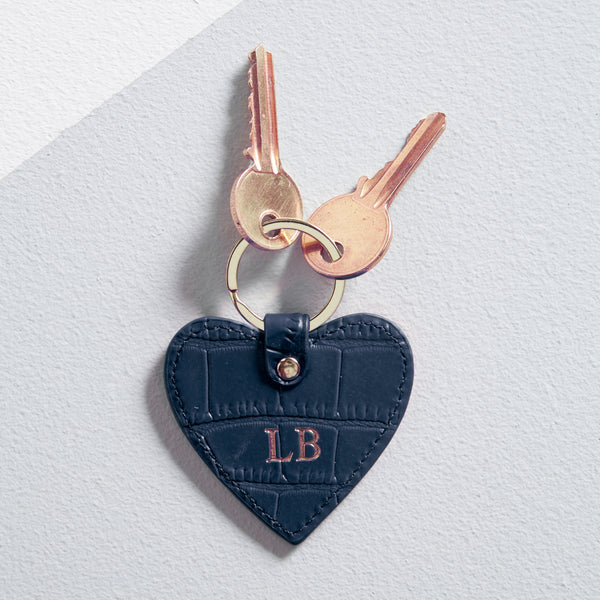 Leather Heart Keyring in Navy