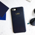 Faux Leather Personalised Phone Case | Navy