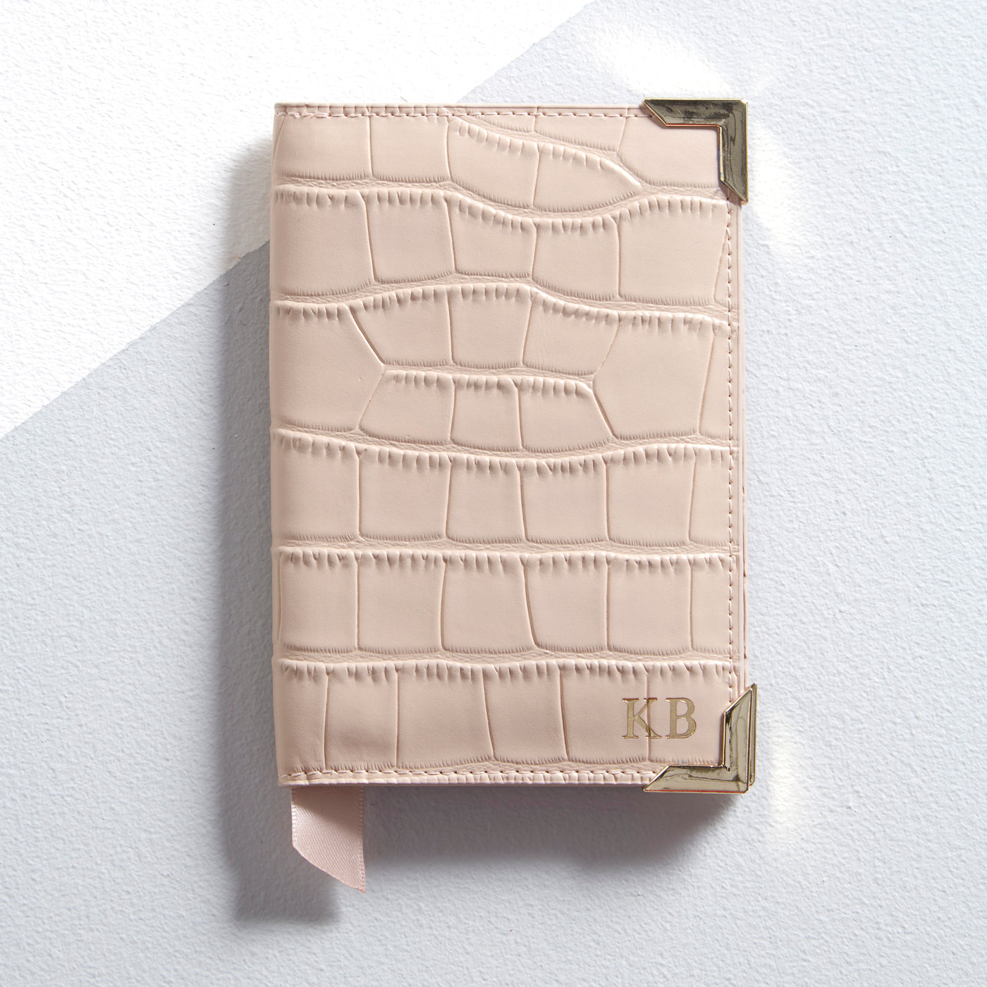 Personalised Leather Mock Croc Passport Cover - Blush