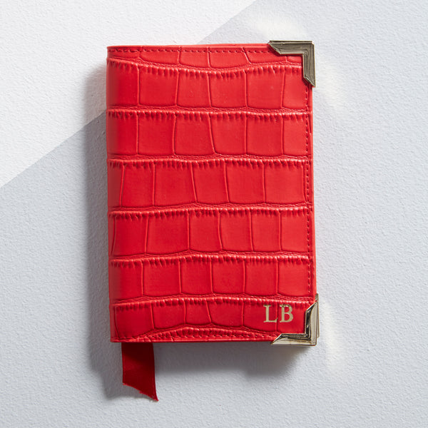 Red leather personalised passport cover