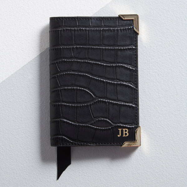 Personalised Leather Mock Croc Passport Cover - Black