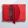 Red leather personalised passport cover - internal