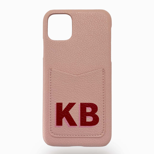 Pink leather phone case with red personalisation
