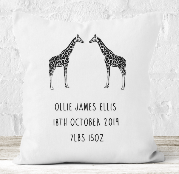 Personalised Cushion | Baby Giraffe