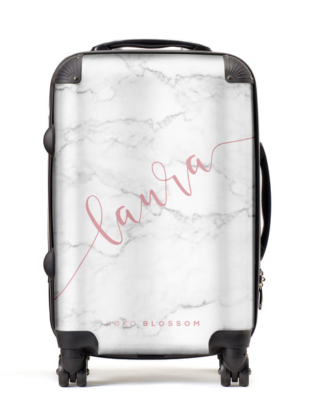 Personalised Suitcase | White Marble
