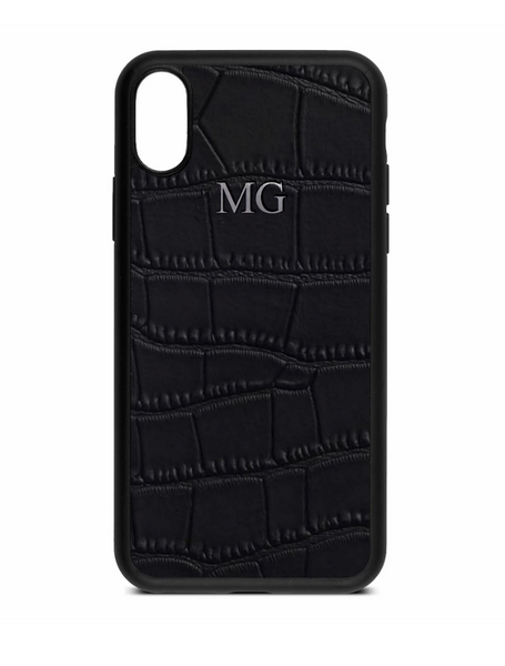 Black Mock Croc Leather Phone Case