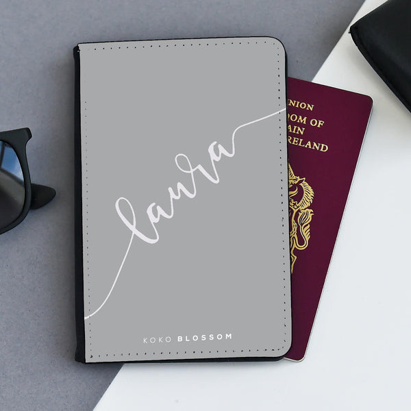 Personalised Passport Holder |  Grey Scribble