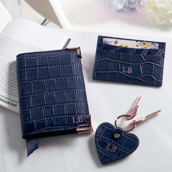 Bespoke Leather Travel Set in Navy