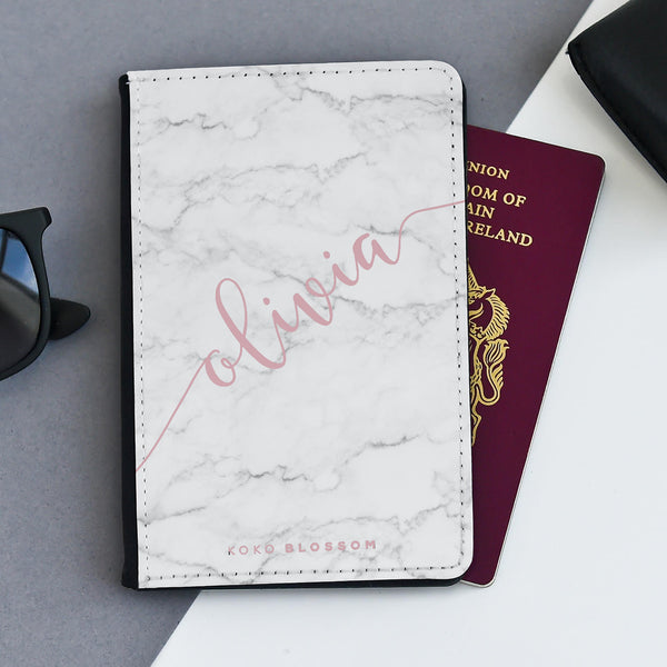 Personalised Passport Holder | Scribble Rose White Marble