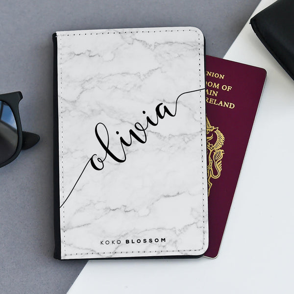 Personalised Passport Holder |  White Marble