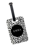 Monochrome Leopard Print Luggage Tag