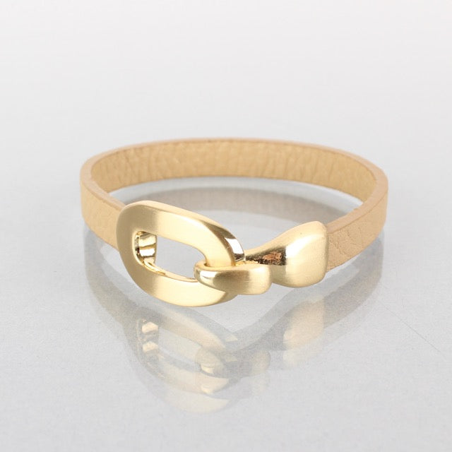 Camel leather bracelet with gold clasp