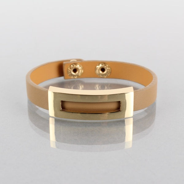 Camel leather bracelet with gold detailing