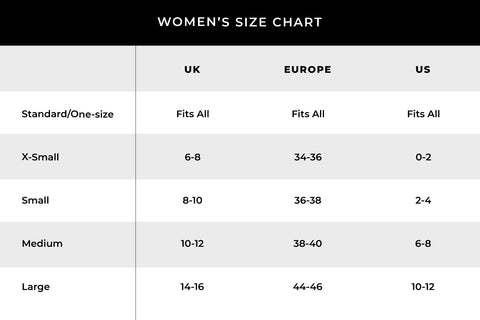 universale sizing conversion chart