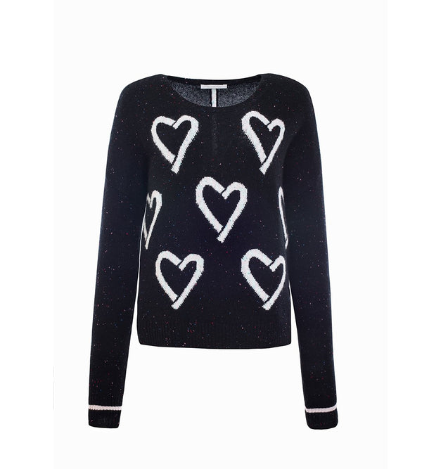 Heart-Jacquard Pullover