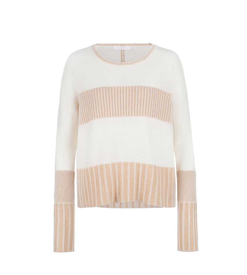 Ribbed Plaited Pullover with Stripes