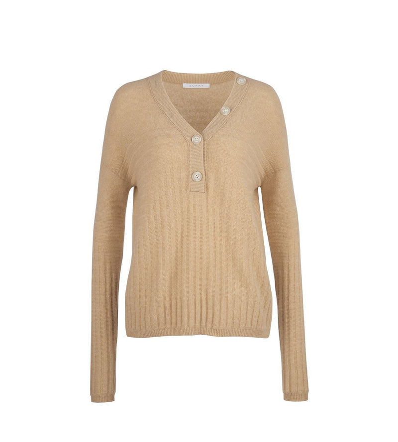 Henley Pullover with Rib Detail