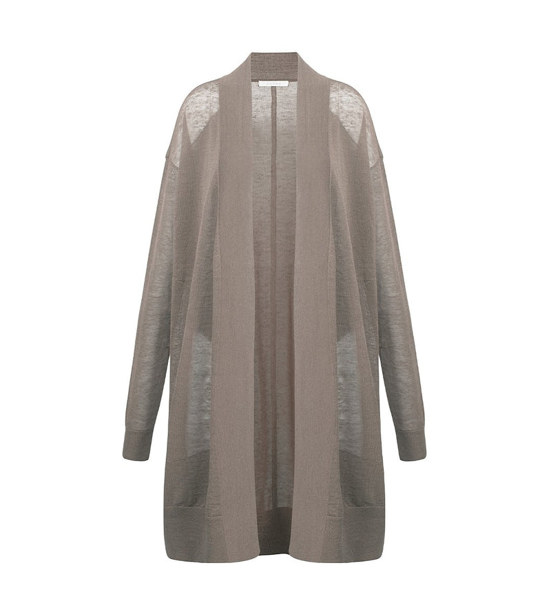 Sheer Paneled Linen Cardigan