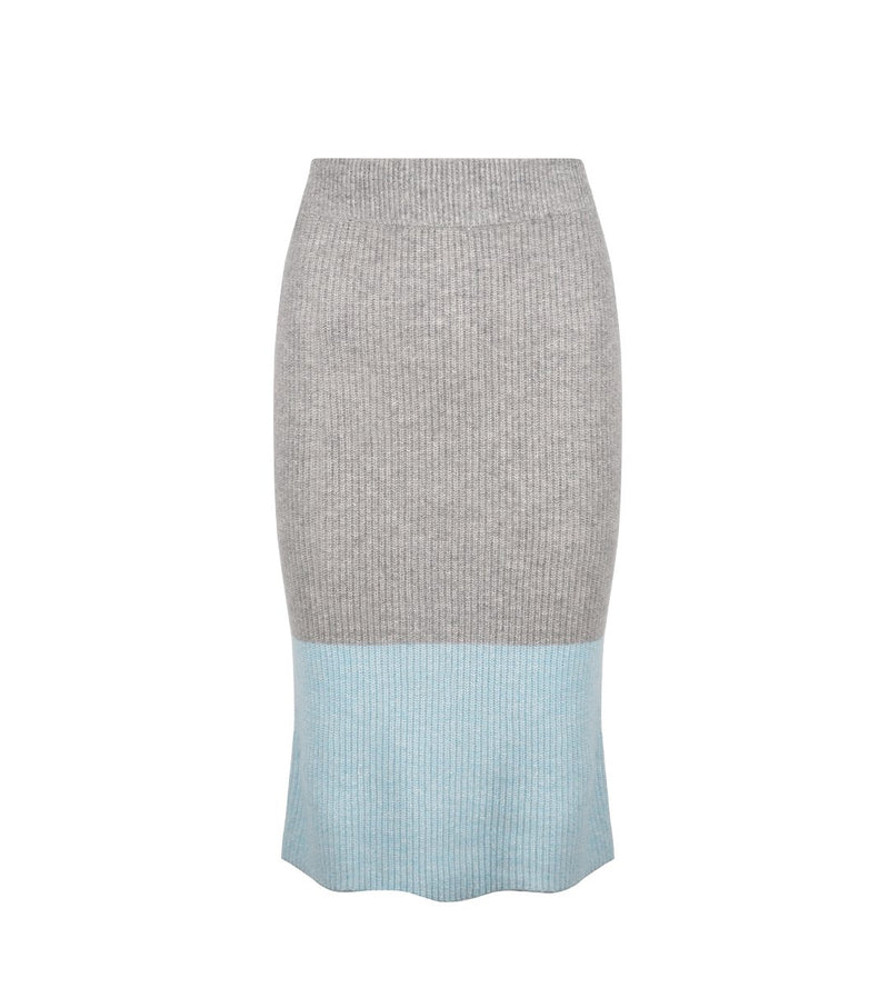 Cashmere Linen Blocked Pencil Skirt