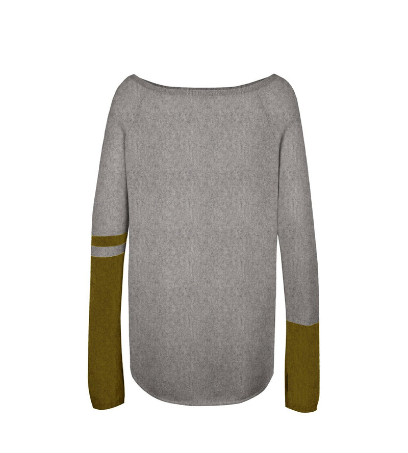 Raglan Boat Neck with Colorblock Sleeves