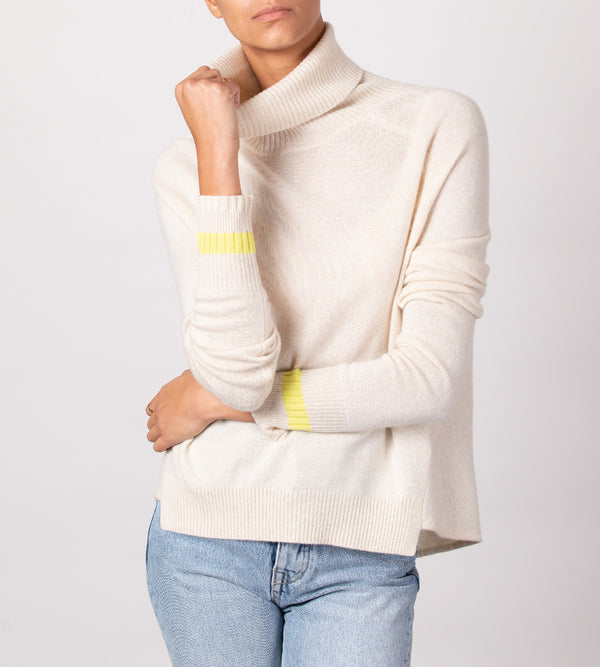 Classic Turtleneck with Striped Cuff