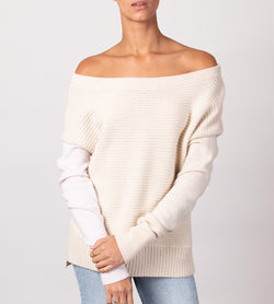 Boat Neck Dolman with Contrast Sleeve