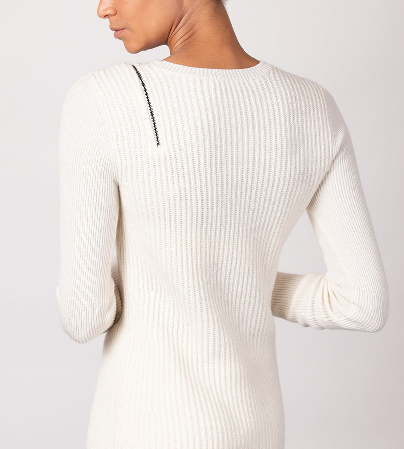 Ribbed Tunic with Shoulder Zip