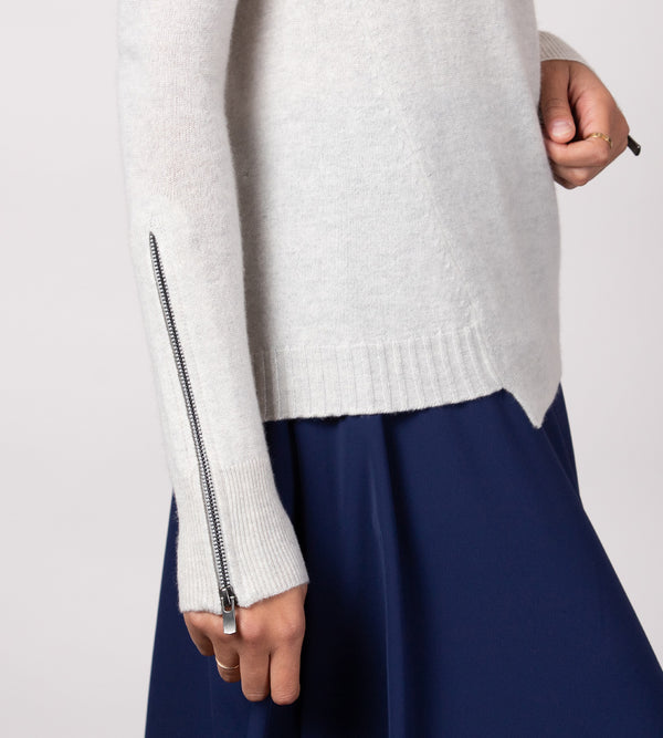Zip Sleeve Asymmetrical Crew