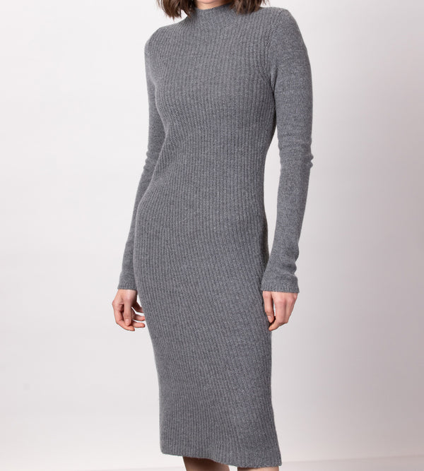 Funnel Neck Ribbed Dress