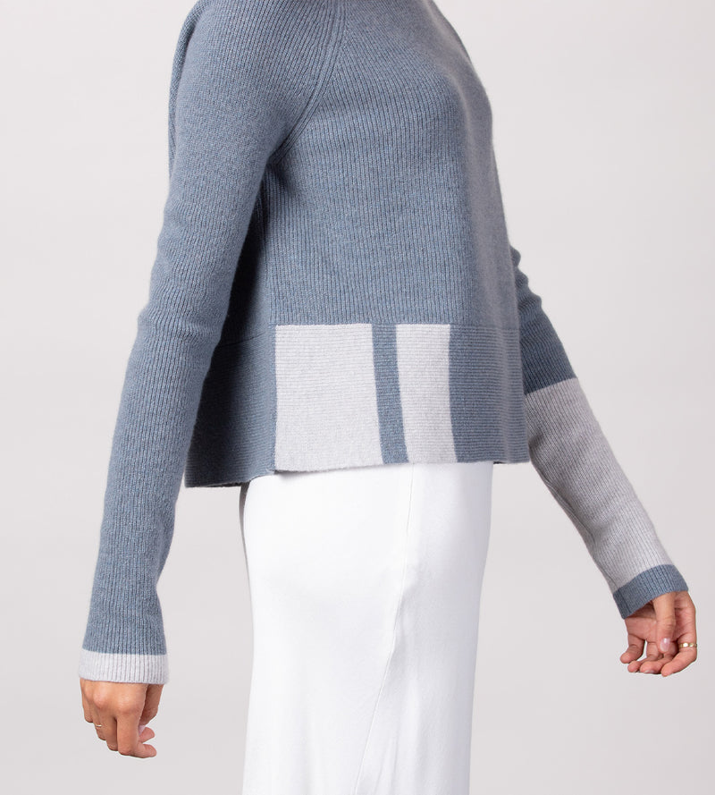 Mock Neck Pullover with Tipping