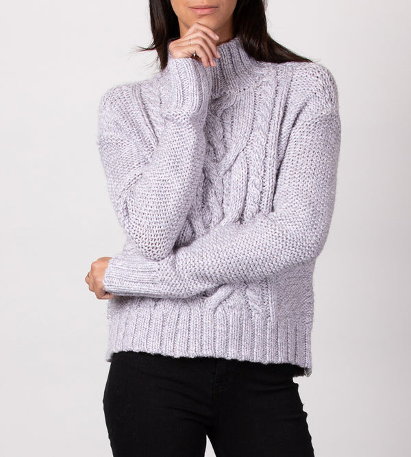 Multi Marl Cable Turtleneck
