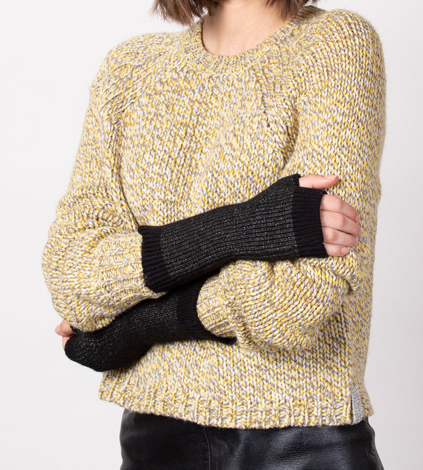 Heather Ribbed Fingerless Gloves