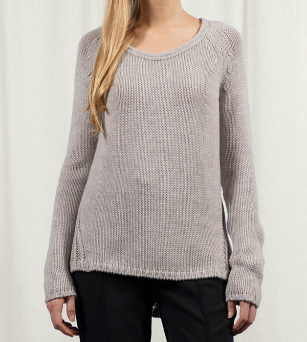 Scoop Neck Pullover with Open Stitch Back