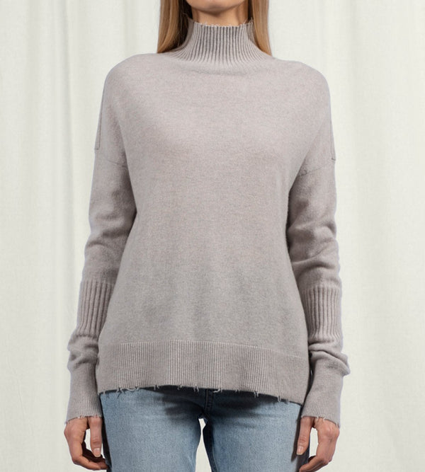Frayed Turtleneck Tunic