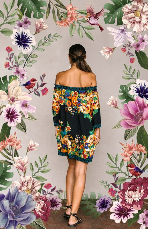 Florence Cold Shoulder Floral Print Dress