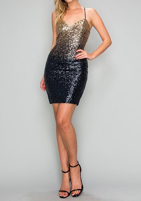 Sasy Open back Sequins Dress