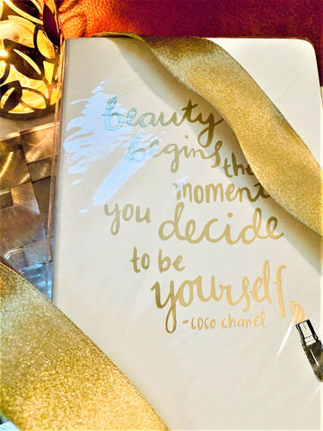 "Journal w/Quote  ""Beauty Begins When You Decide to be Yourself"