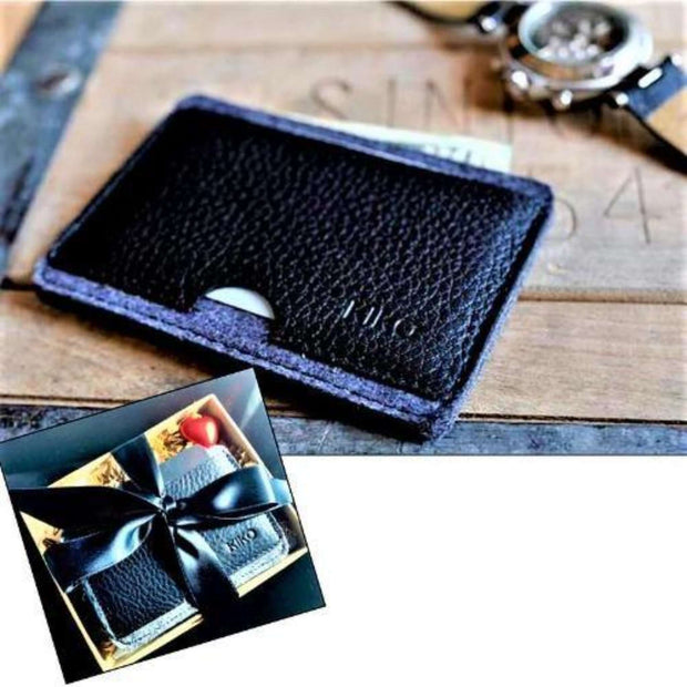 WALLET:  Mens Wallet Card Case Black/Gray - Essentialgifting