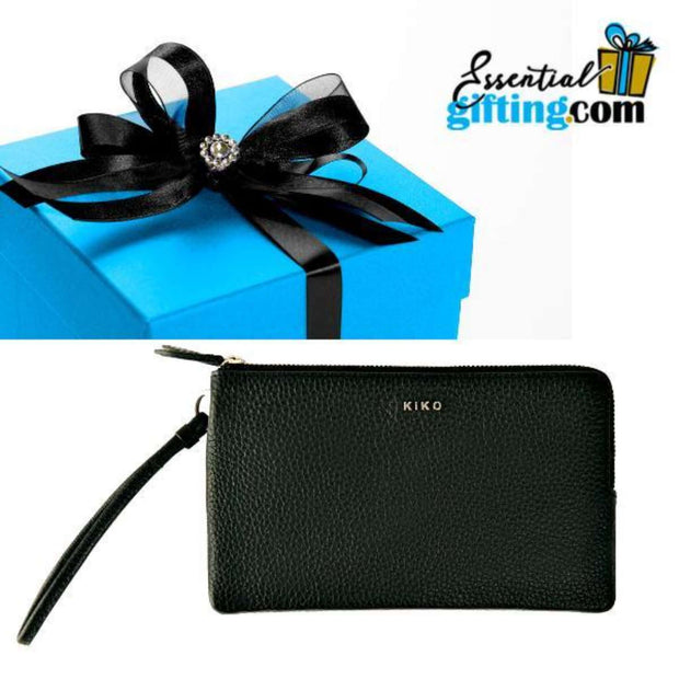 HANDBAG: Leather Wristlet, Black - Essentialgifting