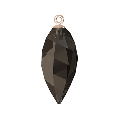 Swarovski® Crystals #6541 - Smoky Quartz, Rose Gold Cap - 24mm