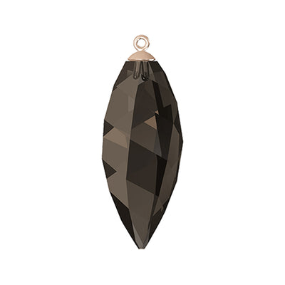 Swarovski® Crystals #6541 - Smoky Quartz, Rose Gold Cap - 34.5mm