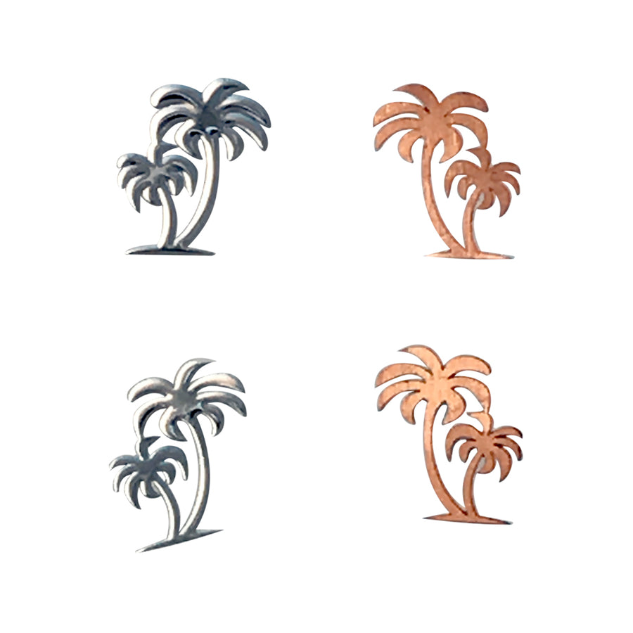 5.5x4mm Silver Double Palm Tree Deco Metal Sheet Nail Art