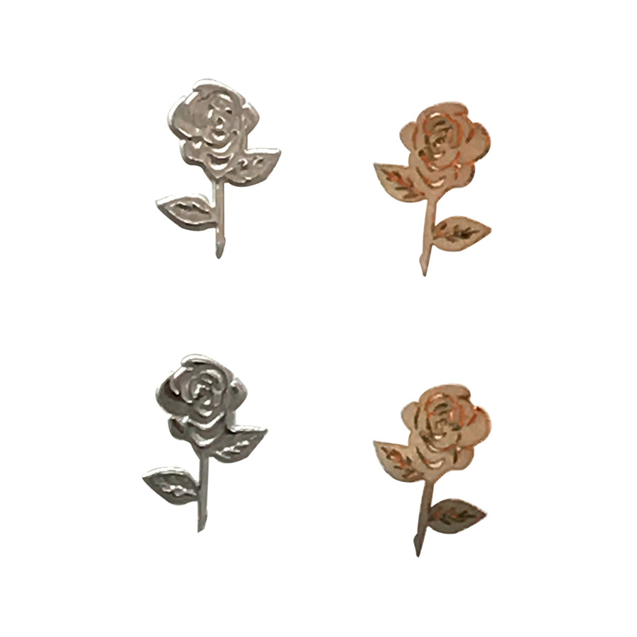 5x4mm Silver Rose Deco Metal Sheet Nail Art
