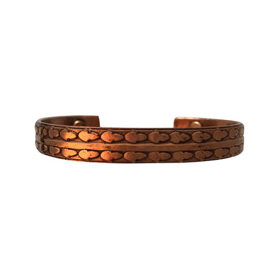 6.5-7.5 Inch Patterned Antique Copper Cuff Bracelet With Magnetic Ends