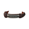 6-8.5 Inch Leather and Wax Cord Bracelet - Believe