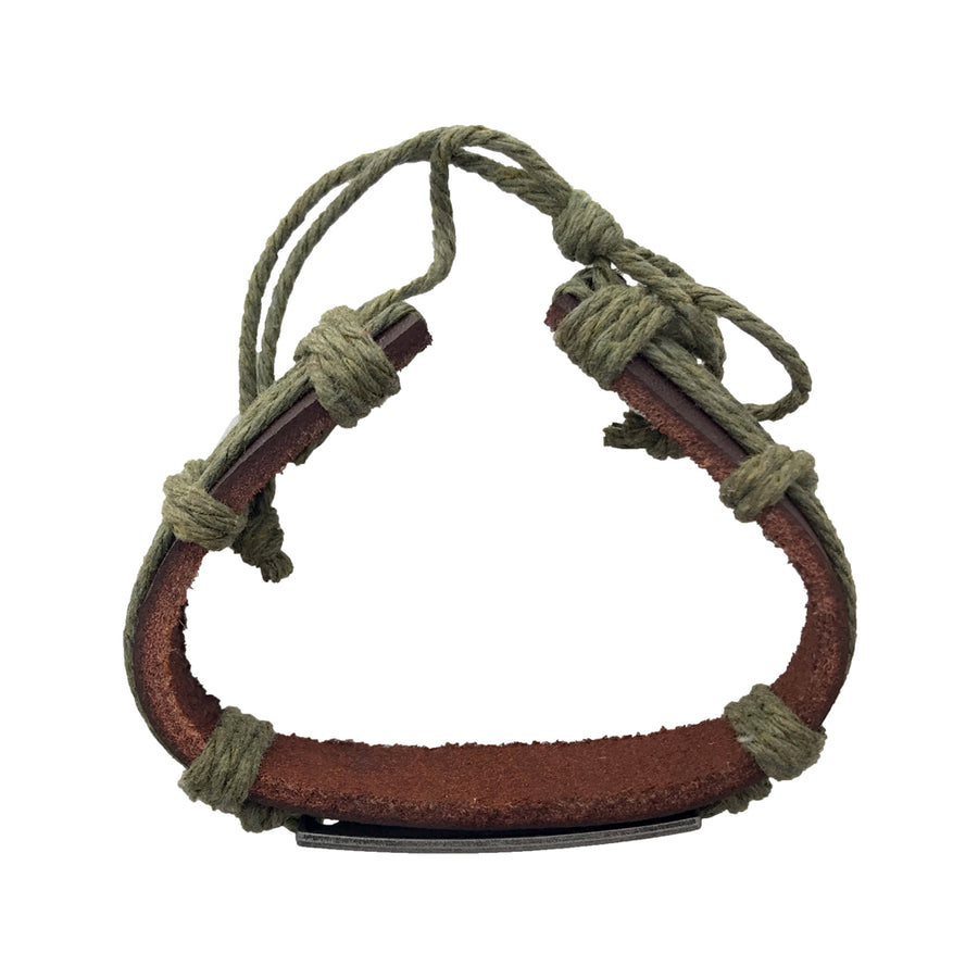5.5-8 Inch Leather and Wax Cord Bracelet - Love Is The Key...