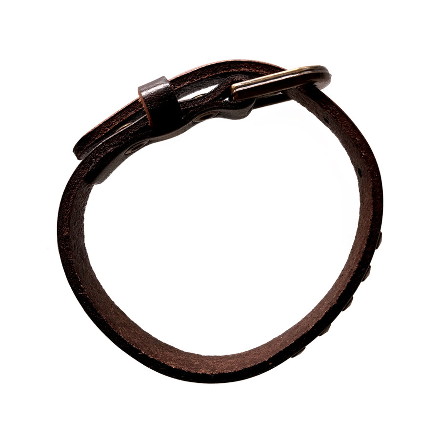 7-9 Inch Brown Leather Square Studded Bracelet
