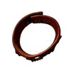 6.5-7 Inch Brown Hook and Eye Rhinestone Leather Bracelet