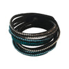 16 Inch Multi Blue and Clear Rhinestone Wrap Bracelet